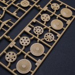 Road wheels and three versions of idler wheels. Version with 8 holes is suitable for mid version Hetzer and idler wheel with only 4 holes is late/post war production version. So version with 6 holes is most common for late version Hetzer.