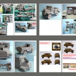 Last pages of assembly guide with pictures of assembled vehicle and profiles for painting and marking.