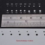 Here we can see results from 0.25 mm styrene sheet.